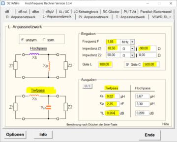 Verluste des Anpassnetzwerkes berechnen. - ZS6BKW als T-Antenne auf 160m.