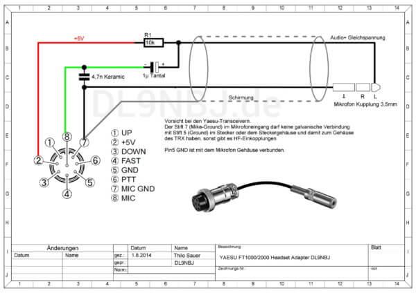 Headset Adapter für YAESU Transceiver
